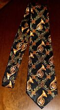 Lots Of French Horn On A New 100% Polyester Black Neck Tie ! #2 Free Shipping