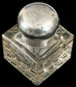 ANTIQUE CHESTER ENGLAND HALLMARKS STERLING SILVER SQUARE CRYSTAL INKWELL FINE !