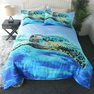 Blue Ocean Animal Sea Turtle King Queen Twin Quilt Duvet Pillow Cover Bed Set