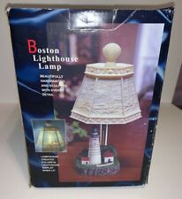New ListingBoston Lighthouse Lamp, Hand painted, Unique - Light shines through Shade New