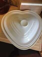 Le Creuset Deep Heart Dish With Lid In Cotton White Enamel Wear 3.03