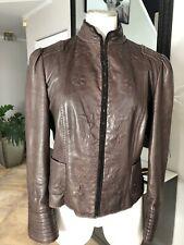 Elie Tahari Womenmedium Brown  Embroidered Hook Front Lamb Leather Jacket TT