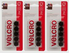 "3 Velcro Hook & Loop Fastener Round 5/8"" W Black Sticky Back Adhesive 15pk 90069"