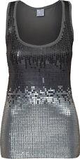 Ladies Womens Sparkley Silver Sequin Vest Top Graduated Sequin Front