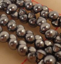 """144 vintage 6mm tiny glass shank buttons black oxide Japan 1/4"""" beads doll"""