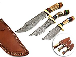 BEST HANDMADE DAMASCUS STEEL HUNTING BOWIE KNIFE WITH STAG HANDLE 3PCS SET
