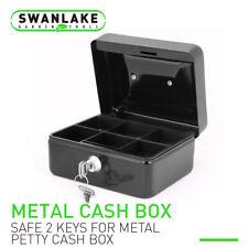 "5"" &6"" Locking Cash Box Money Small Steel Lock Security Safe Storage Check Black"