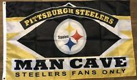 Pittsburgh Steelers Man Cave Flag 3x5 Fans Only Banner Football Man cave