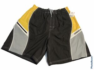 NWT Speedo Mens Swim Trunks Large BLACK/YELLOW/GRAY Board Shorts Draw StrIng