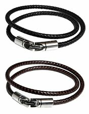Phiten RAKUWA Bracelet X100 Leather-Textured Model Black & Brown Set32cm
