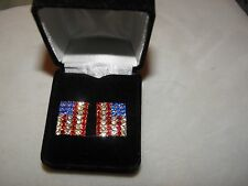 & Labor Day 4Th Of July Usa Flag Earrings Glittering Austrian Crystal Memorial