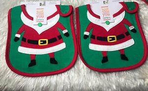 2- New Baby CARTER's CHRISTMAS SANTA Bib Teething