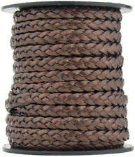 Xsotica® Brown Metallic Flat Braided Leather Cord 5mm 1 meter Flat Rate Shipping