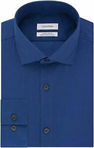 New Mens Calvin Klein Steel Extra Slim Fit Blue Stretch Dress Shirt 16 32/33 L