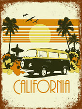 vintage retro style California poster image metal sign tin wall door plaque