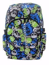 SKULL Blue Green Backpack Rucksack School College Goth Emo Rock Punk Skate Bag