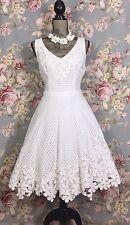 NWT Anthropologie Yoana Baraschi Eyelet Lace Scalloped Hem Ivory Cotton Dress 12