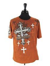 MMA Elite Men's Large Orange Rust Redemption Graphic Cross 100% Cotton T-Shirt