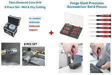 TITAN Diamond Core Drill Set 8 PEZZI-Wet & Dry taglio + Set di cacciaviti 6 PZ