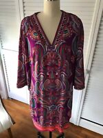 Laundry by Shelli Segal Womens Dress Paisley Print Purple Size Medium