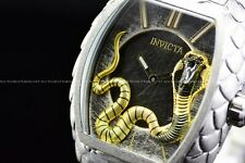 Invicta 47mm Tonneau Venom King Cobra Silver Swiss Snake Bracelet Texture Watch