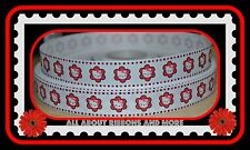 "7/8""HELLO KITTY WHITE GROSGRAIN RIBBON WITH RED FLOWERS - 1 YD"