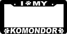 Komondor Dog paw print License Plate Frame