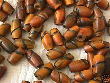 Amber Black Hair Pipe Horn Bone Tube Beads 22pc 18mm