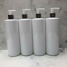 4 x 500ml Pump Bottle Black White PET Plastic Dispenser Mrs Hinch Customisable