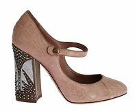 NEW $2800 DOLCE & GABBANA Shoes Pink Crocodile Embellished Heel Pumps EU37/US6.5