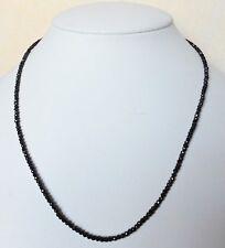 Edelsteinkette Schw. Spinell 43 cm Halskette 2,5mm fac.Perlen Collier -True Gems