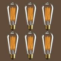 6 PCS E26 Filament Light Bulb Vintage Retro Industrial Edison Lamp Lights 40W