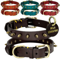 Studded Leather Dog Collar With Dog Name Tags Personalized Engraved ID 4 Colors