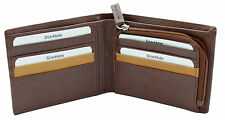 Starhide RFID BLOCKING Men Soft Leather Wallet Purse Zip Coin Pocket 110 BROWN