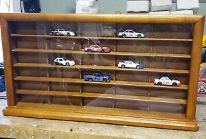 Oak Display Case MatchBox Hot Wheels 1/64 Scale NASCAR AFX TOMY LIFELIKE