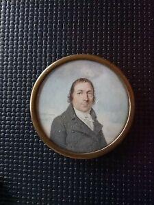 Portrait Miniature Période révolutionnaire Signé Bosselman empire