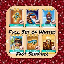 Coin Master Full Egypt Set  (All 5 Whites) Cleopatra Ankh Etc (FastDelivery)