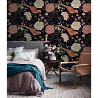 Peony with exotic bird Removable wallpaper pink and brown Home Decor