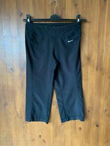 """NIKE DRI FIT LEGGINGS Black Crop Leg Gym Running XS / UK 4-6 / 19"""" Leg - VGC"""