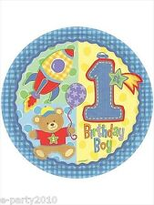 HUGS & STITCHES BOY LARGE PAPER PLATES (8) ~ 1st Birthday Party Supplies Lunch