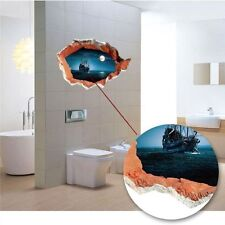 CAVE CRACKED Sailing in Moonlight 3D Wall Sticker Home Bedroom Art Decal Decor