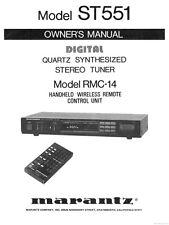 Marantz ST551 Tuner Owners Instruction Manual
