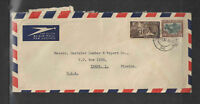 1952 SOUTH AFRICA AIR MAIL COVER Sc # 119 & # 44 GREAT FOY MORGAN OVAL BACKSTAMP