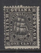 British Guiana 1862 black 1c perf 12.5 thin paper  SG51 - Mounted mint