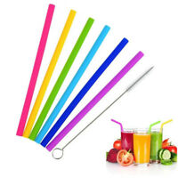 New 7PCS Straws Reusable Silicone Drinking Straw with Cleaning Brushes Set