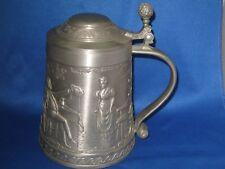Antique German Embossed Pewter Beer Mug W/Handle/Lid 4 Scene Series Lindenwirtin