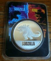 """2021 """"Godzilla"""" 1 oz .999 Silver Round Coin BU in TEP Tamper Evident Packaging"""