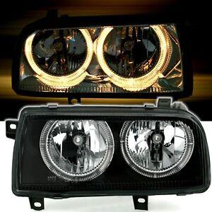 Angel Eyes Scheinwerfer Set für VW Vento alle 1991-1998 in Klarglas Schwarz H7