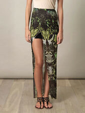 Helmut Lang Cicada Print Asymmetric Layered Wrap Skirt S