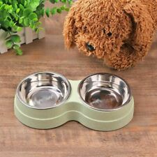 Dog Double Bowl Food Water Feeder Stainless Steel Pets Drinking Dish Pet Feeding